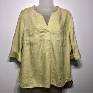 Pure Collection 100% Linen 3/4 sleeve top size 12